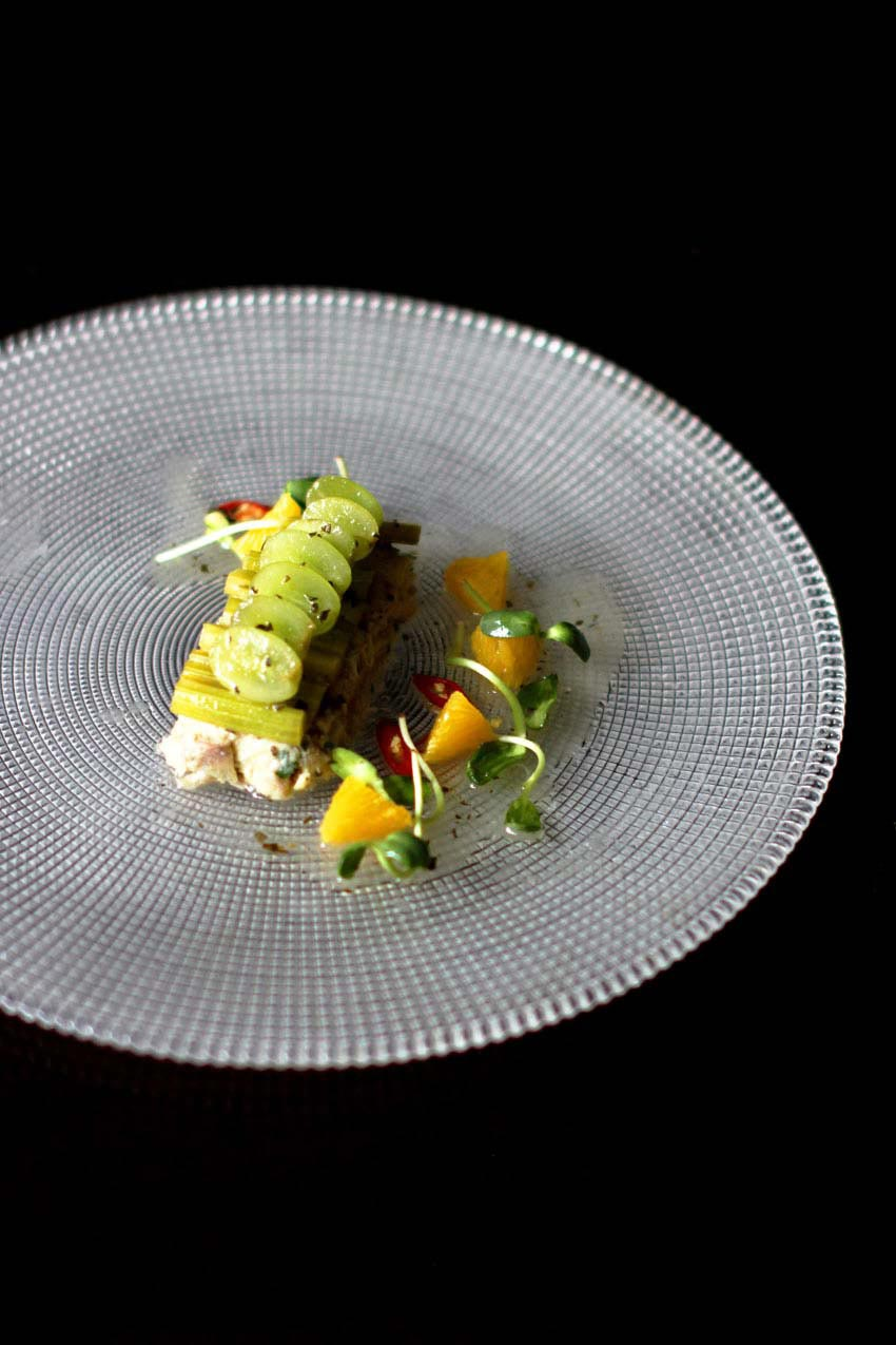 Poached Chicken with Green Grapes and Celery