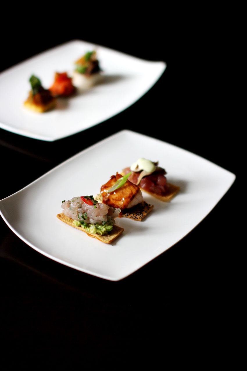 Seviche and Black Cod Canapes